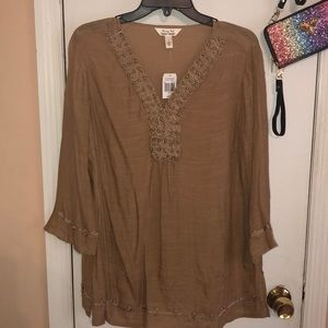 Tan blouse with pearls & design